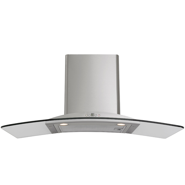 900mm stainless steel and curved glass canopy rangehood